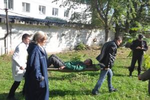 Учения - эвакуация пострадавших при пожаре в больнице ГКБ №10